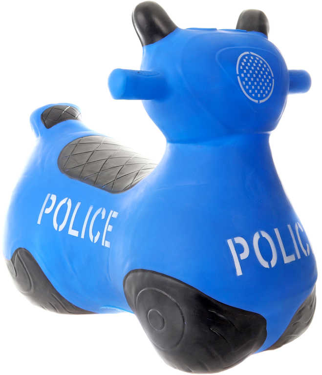 Baby hopsadlo gumové Motorka policejní modré set skákadlo s pumpičkou