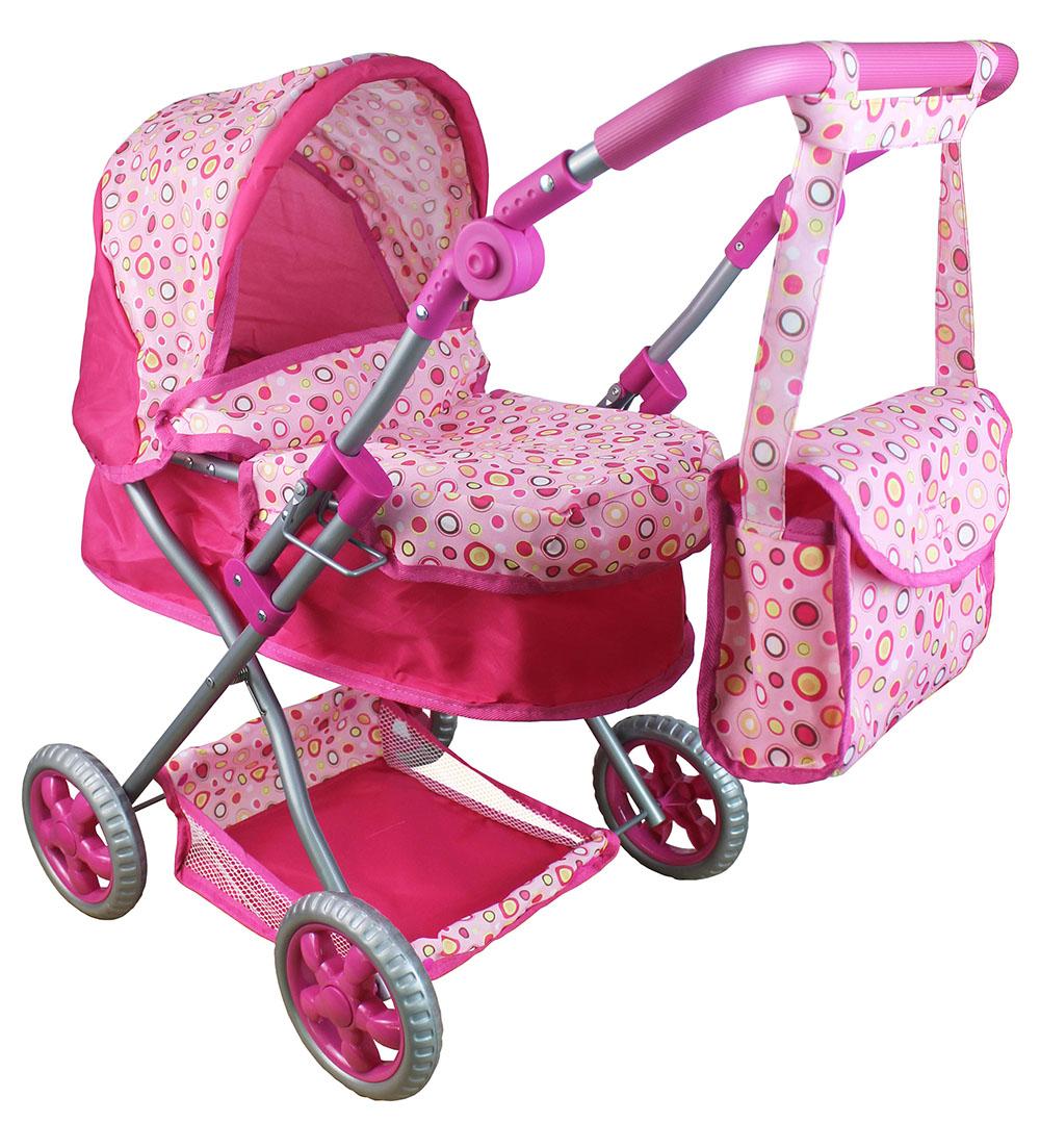 Kočárek pro panenky s polohovací rukojetí růžový