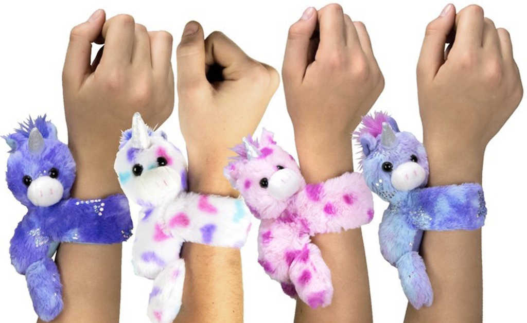 PLYŠ Jednorožec na ruku s rolovací páskou 4 druhy *PLYŠOVÉ HRAČKY*