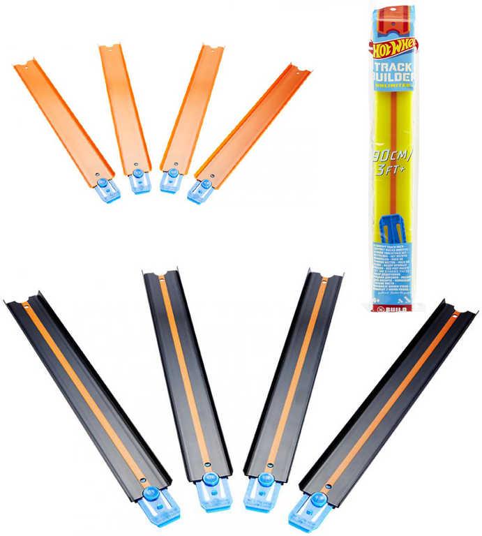 MATTEL HOT WHEELS Track Builder dráha rovinka set 3 díly 120cm 3 barvy