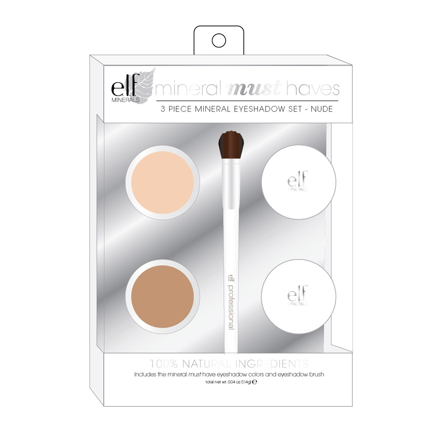 ELF Cosmetics Beauty Must Haves Sada minerálních očních stínů se štětečkem Earthy