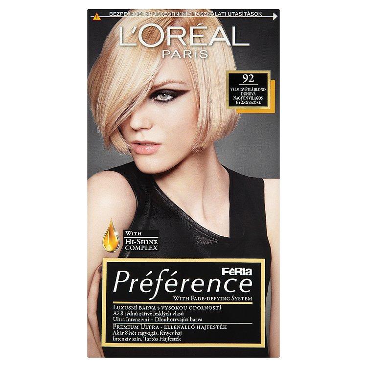 L'Oréal Paris Féria Préférence velmi světlá blond duhová 92