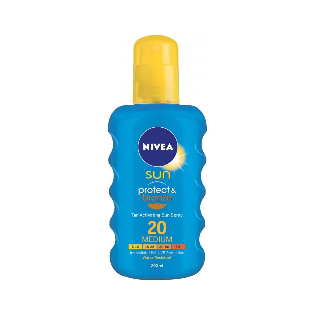 Nivea Sun Protect & Bronze Sun Spray intenzivní sprej na opalování SPF 20 200 ml